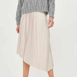 TOPSHOP Asymmetric Pleated Midi Skirt Pale Gray